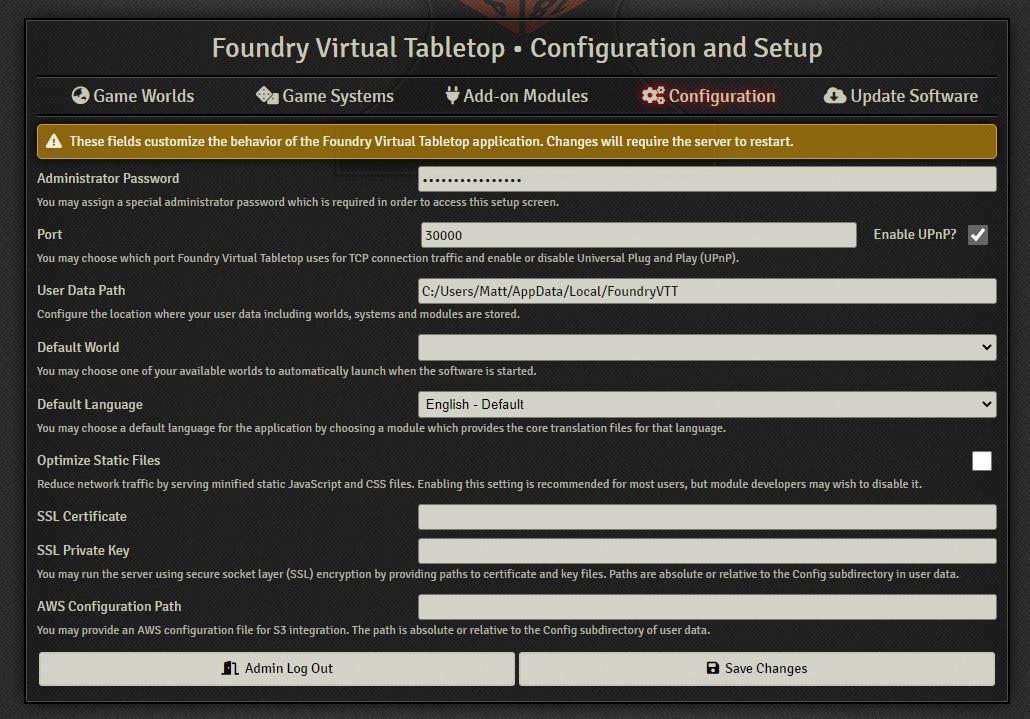 foundry vtt configuration tab