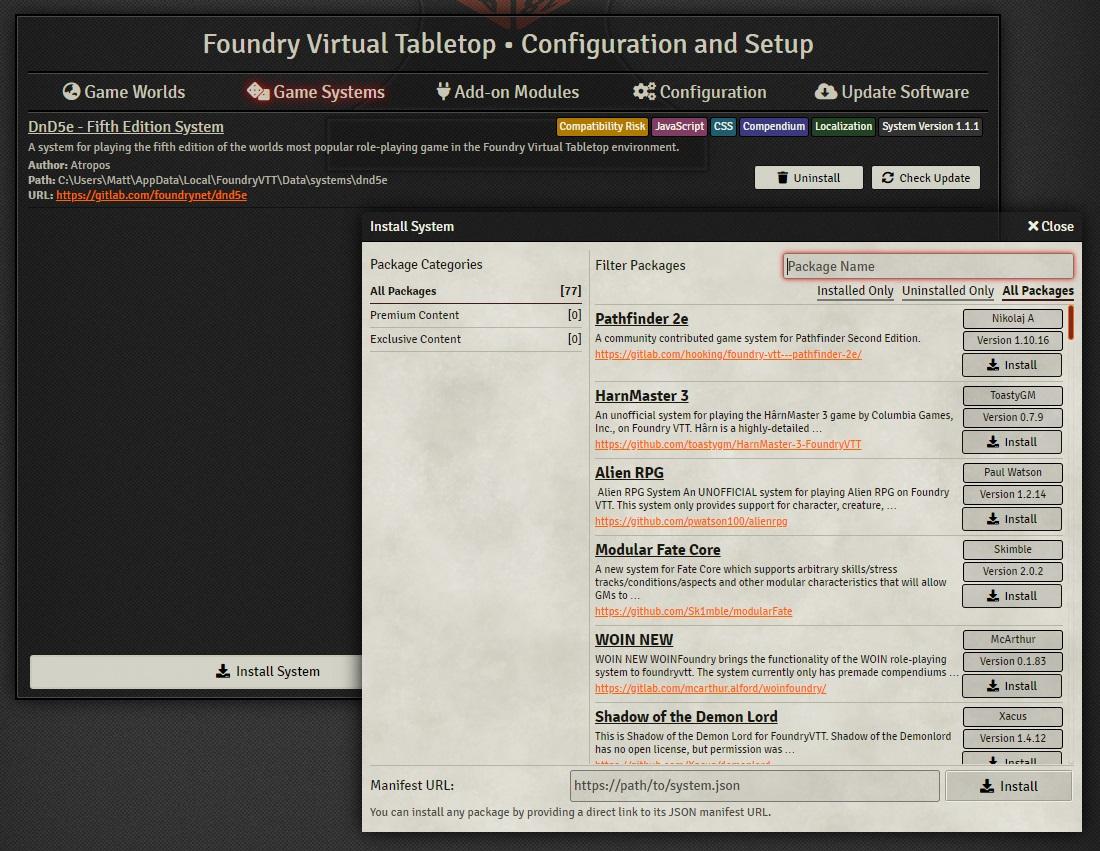 Foundry VTT Game System Installation