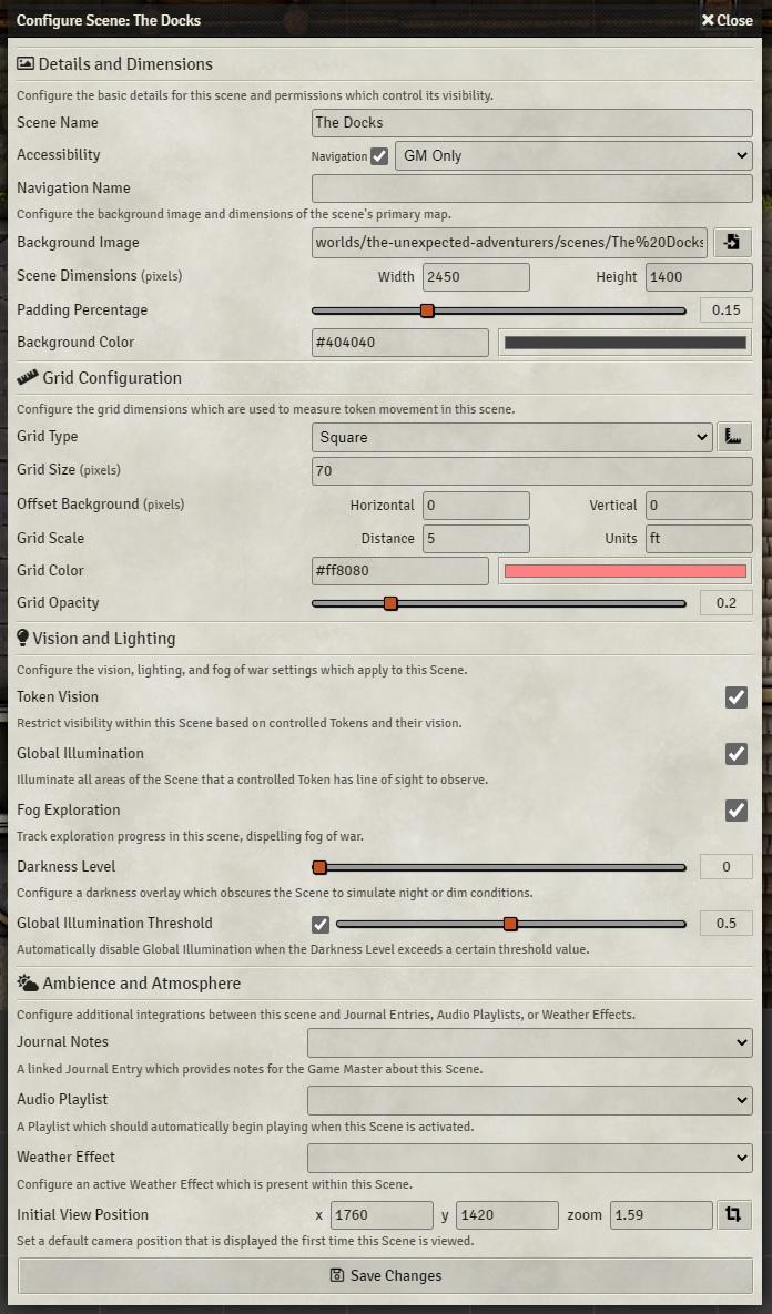 Foundry VTT Scene Configuration Window