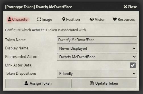 Foundry VTT Token Settings Character Tab