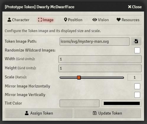 Foundry VTT token settings image tab