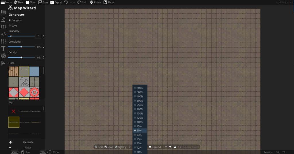 Basic DungeonDraft Controls