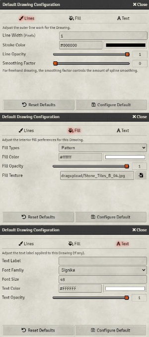 Drawing tools configuration options