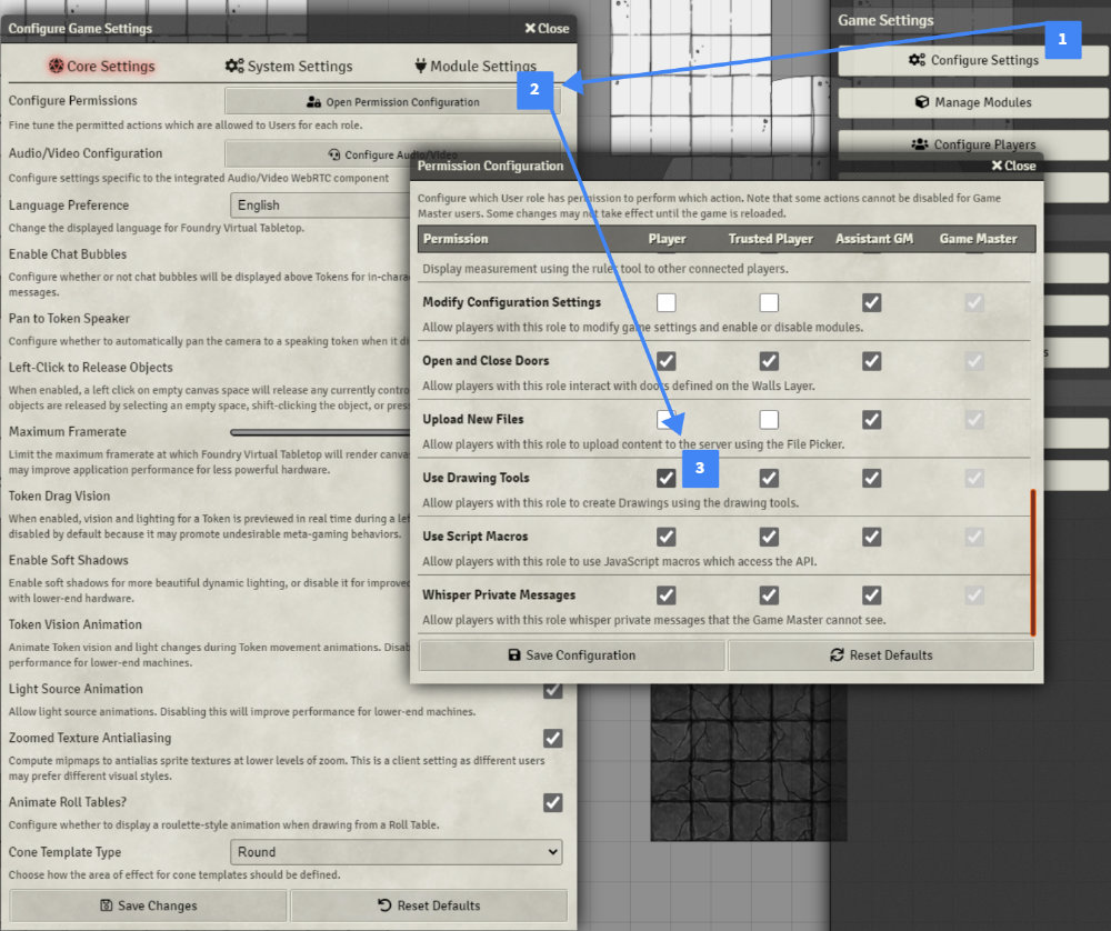 settings for giving users drawing tools