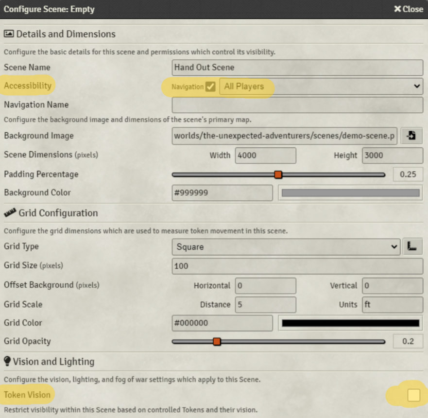 Scene configuration settings for hand outs