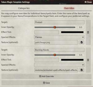 Token Magic FX Spell Template Override Settings